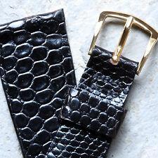 Black large scales Genuine Lizard 20mm watch strap NOS vintage 1960s/70s