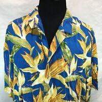 Paradise Found Vintage Rayon Aloha Hawaiian Shirt Blue Yellow Floral 4XL FFF7