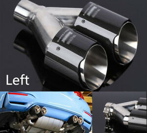 "1Pcs Left Mount Real Carbon Fiber Exhaust Tip Dual Outlet Pipe ID:2.5"" OD:3.5"""