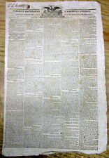 1819 newspaper w Printing of the US ACT to CIVILIZE the NATIVE AMERICAN INDIANS