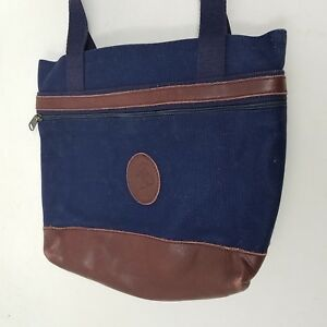 My Maine Bag Canvas Denim Blue Jean Tote Purse Shoulder Bag Brown Leather Trim