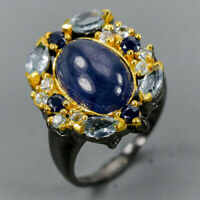 Blue Sapphire Ring Silver 925 Sterling Handmad Size 7.25 /R130335