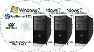 HP Pavilion a4327c Factory Recovery Media 3-Discs / Windows 7 Home 64-bit