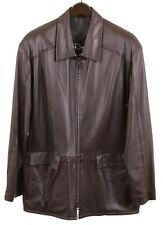 Remy Leather Made in USA Brown Soft Glove leather Full Zip Jacket Coat 42