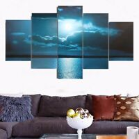 5Pcs Moon Sea Canvas Print Modern Art Painting Wall Picture Home Decor Unframed