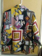 JOANNA 2-fer Twinset Top M Leaf Patchwork twinset Blouse Shirt Multi Color