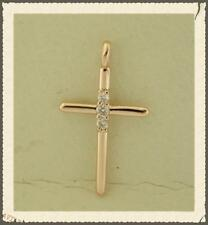 14K Solid Rose Gold Cross Pendant 0.09 Carat Natural Diamonds Necklace