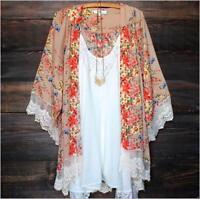 New Women's Printed Chiffon Cover up Tunic Kimono Cardigan Spring Summer Fashion