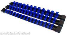 3 GOLIATH INDUSTRIAL ABS MOUNTABLE SOCKET RAIL HOLDER ORGANIZER 1/4 3/8 1/2 BLUE
