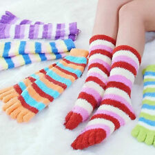 5 Pairs Wholesale Mix Colorful Women's Girl Color stripes five finger Toe Socks