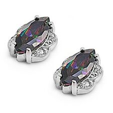 Silver Earrings with Cubic Zirconia Stud Rainbow Topaz Height 10 mm (0.40inch)