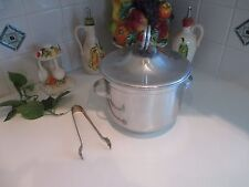 Vintage Mid-Century Buenilum Aluminum Ice Bucket Milk Glass Insert