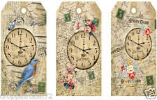 """SET OF 12 """"TIME GOES BY"""" SCRAPBOOK PAPERCRAFT CARD EMBELLISHMENTS HANG GIFT TAGS"""