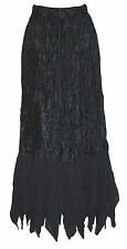LADIES NEW  LONG MAXI  BLACK VELVET LACE SKIRT GOTHIC STEAMPUNK - ONE SIZE