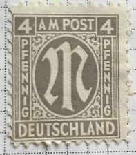 Germany stamps - Allied Military 'M' in Circle  1945 4 German reichspfennig