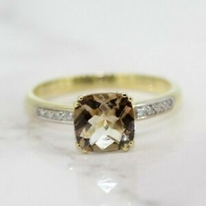 9ct Yellow Gold Morganite and Diamond Solitaire Ring (Size S, US 9)