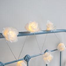 20er LED Rosen Blumen Lichterkette Cremé Timer Deko Beleuchtung Innen Strom
