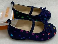 Gymboree Baby Girls Rainbow Stars Ballet Flats sz 4 Mary Janes Shoes Navy Blue