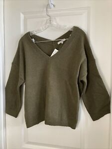 NWT Madewell Thornton Balloon Sleeve V-Neck Sweater in Heather Elm Size M