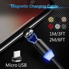 1-2M 360° Magnetic Cable Nylon Micro USB Magnet Charger Cable For Samsung S7 Lot