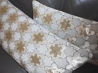 Designer Throw pillows Snowflakes design cut Velvet fabric Custom made new  PAIR