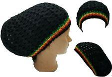 Black Beret Tam Hat Rasta Slouch Beanie Crochet Cap Dreadlocks Dreads Hair M/L