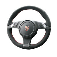 Black Suede Leather Steering Wheel Red Stitch Wrap Cover For Porsche Panamera