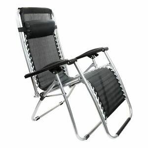Zero Gravity Folding Sun Lounger Chair Recliner Garden Deck Bed Reclining Black