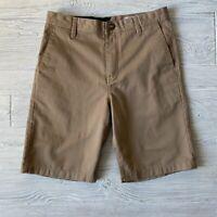 Volcom True to This Mens Flat Front Pockets Lightweight Shorts Khaki Size 29