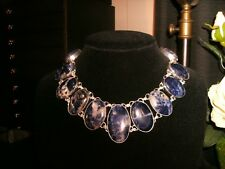 necklace narrow blue solidite 925 Silver Cleopatra choker adjustable