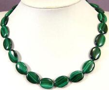 "New 13x18mm malachite green Flat Oval Gemstone Beads Necklace 18""##MJ055"