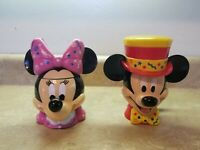 2 Mickey And Minnie Mouse Flip Top Coffee Mugs Cups Birthday Tophat Bow Disney