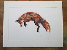 "Watercolour Fox, Felix, print of original painting , in 14"" x 11"" Mount"