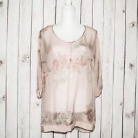 Soft Surroundings Women's 100% Silk Tunic Blouse Sheer Floral Print Size XS