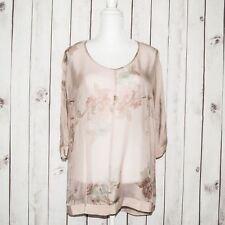 f9ceba054a6 Soft Surroundings Women's 100% Silk Tunic Blouse Sheer Floral Print Sz XS