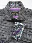 Bertigo Men's Size 4 Shirt Black & White Geometric Paisley Cuffs Long Sleeve