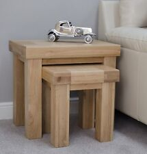 Alaska Nest of Two Coffee Tables Set Solid Oak Modern Living Room Furniture