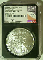 2020(P) AMERICAN SILVER EAGLE MINT ERROR $1 PHILADELPHIA EMERGENCY NGC MS69 FDI