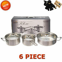 6 Piece GENAU Stainless Steel Cookware Set Kitchen Home Cooking Pot Pan Sliver