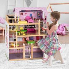 Puppenhaus Dollhouse Spielhaus Puppenstube Puppenvilla 4 Stockwerke Rosa