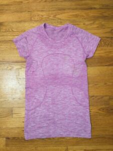 Size 6 Lululemon Swiftly Tech Short Sleeve Top - Heathered Purple **Stained**
