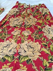 "Two Pair(4) vintage BARKCLOTH Fabric Drapes Drapery Panels Pleated Roses 84X25"""