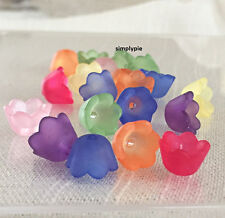 Frosted Lucite Flower Bell Bead Caps Assorted Colors 25 Acrylic