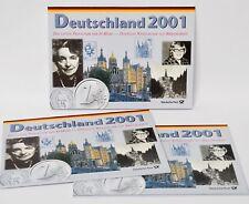 Lot 3 x KMS BRD Das letzte Prägejahr der D-Mark PP 2001 D, F, J mit Briefmarken