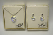 Aurora Borealis Heart with Swarovski Crystal Pendant Necklace & Earrings Set