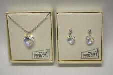 Aurora Borealis Heart with Swarovski Crystal Pendant Necklace & Earrings Set