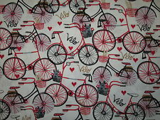RETRO BIKE BICYCLE FRENCH VELO RED HEARTS WHITE COLORS COTTON FABRIC BTHY