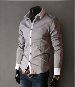 Mens Long Sleeves Shirts Business Wrok Solids Multicolor Dress Slim Fit Shirts