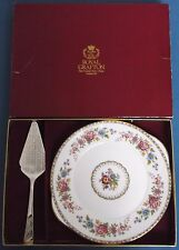 VINTAGE Royal Grafton Malvern piatto per torta SILVER PLATE Sheffield server fetta Box