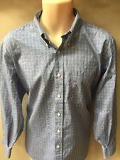 New NWOT Mens Kirkland Cotton Long Sleeve Shirt Blue Patterned 17 32/33 XL